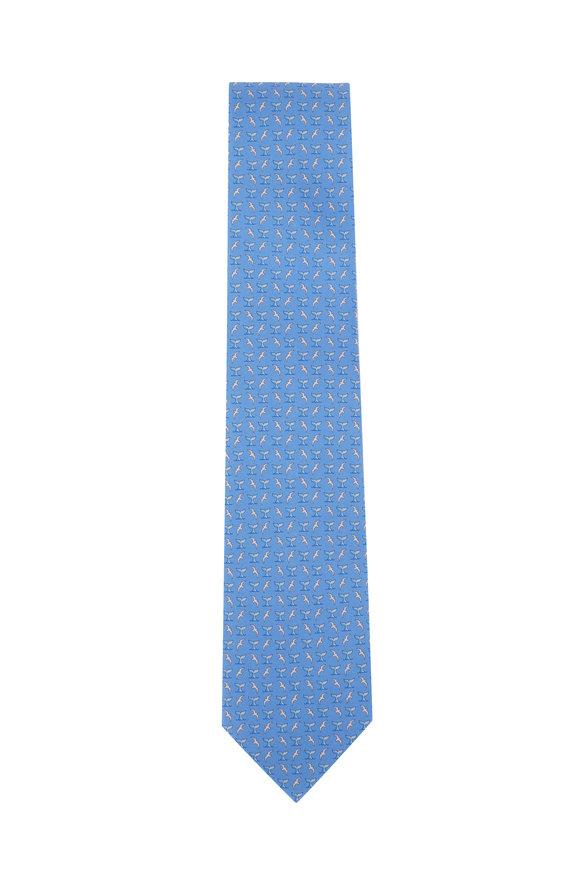 Salvatore Ferragamo Light Blue Whale Tail Silk Necktie