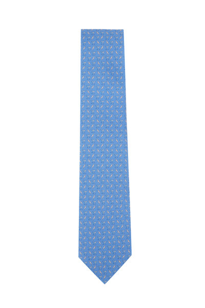 Salvatore Ferragamo - Light Blue Whale Tail Silk Necktie