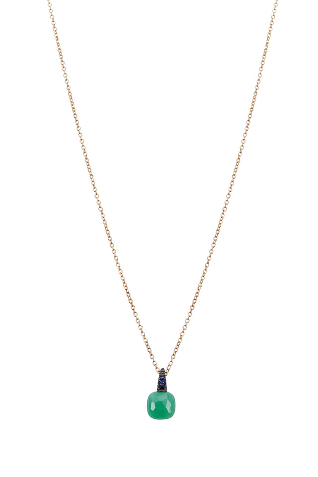 Gold Chrysoprase Sapphire Capri Pendant Necklace
