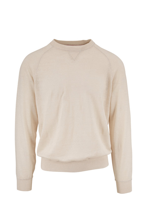 Brunello Cucinelli Off White Linen & Cotton Raglan Crewneck Shirt