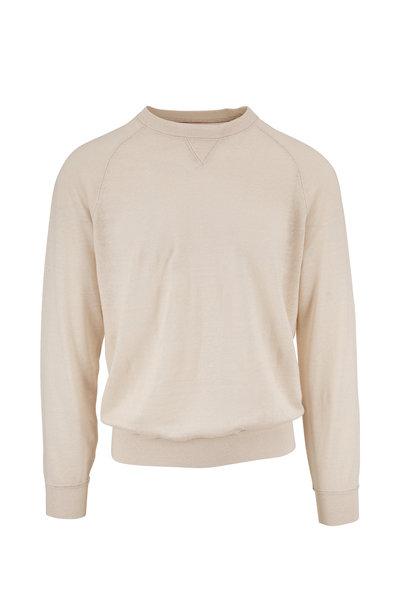 Brunello Cucinelli - Off White Linen & Cotton Raglan Crewneck Shirt