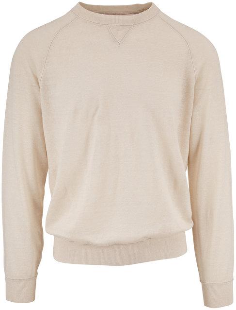 Brunello Cucinelli Off White Linen & Cotton Raglan Crewneck Shirt