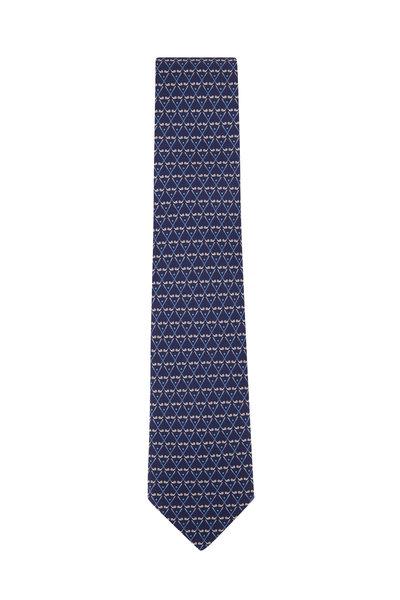 Salvatore Ferragamo - Navy Blue Golf Club Silk Necktie