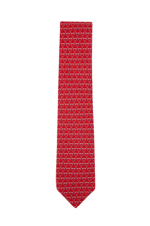 Salvatore Ferragamo Red Golf Club Silk Necktie