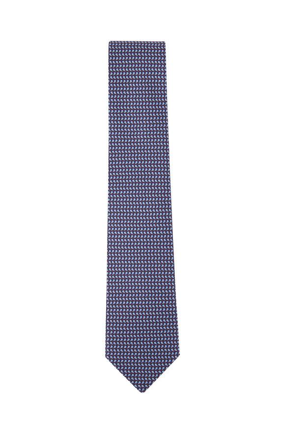 Salvatore Ferragamo Navy Blue Paddle Silk Necktie
