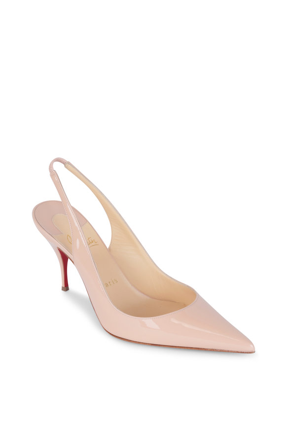 Christian Louboutin Clare Nude Patent Leather Slingback, 80mm