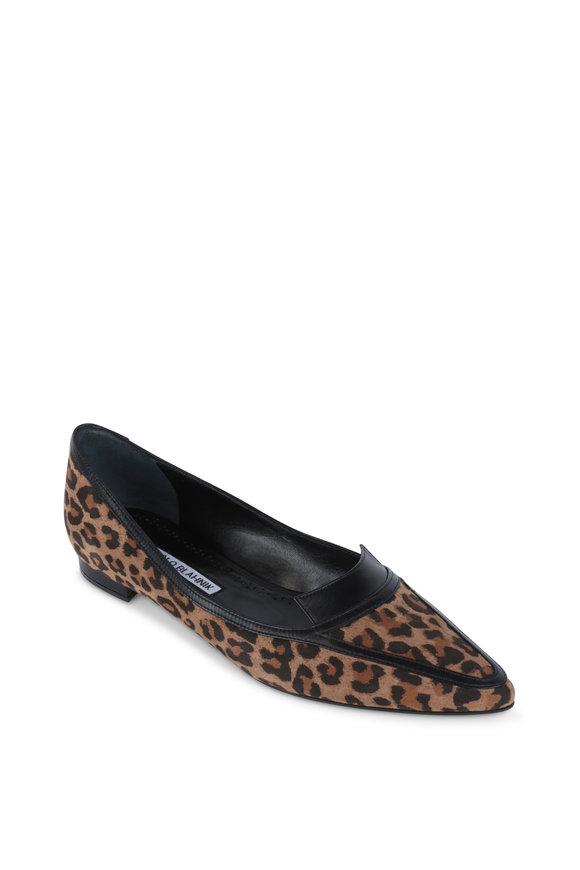 Manolo Blahnik Hoggy Brown Leopard Suede Flat