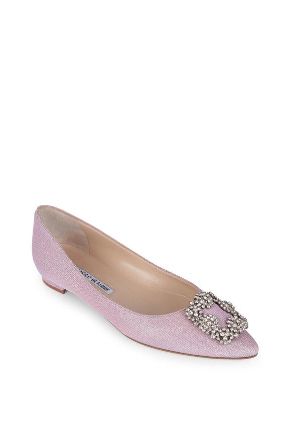 Manolo Blahnik Hangisi Pink Glitter Jewel Buckle Flat