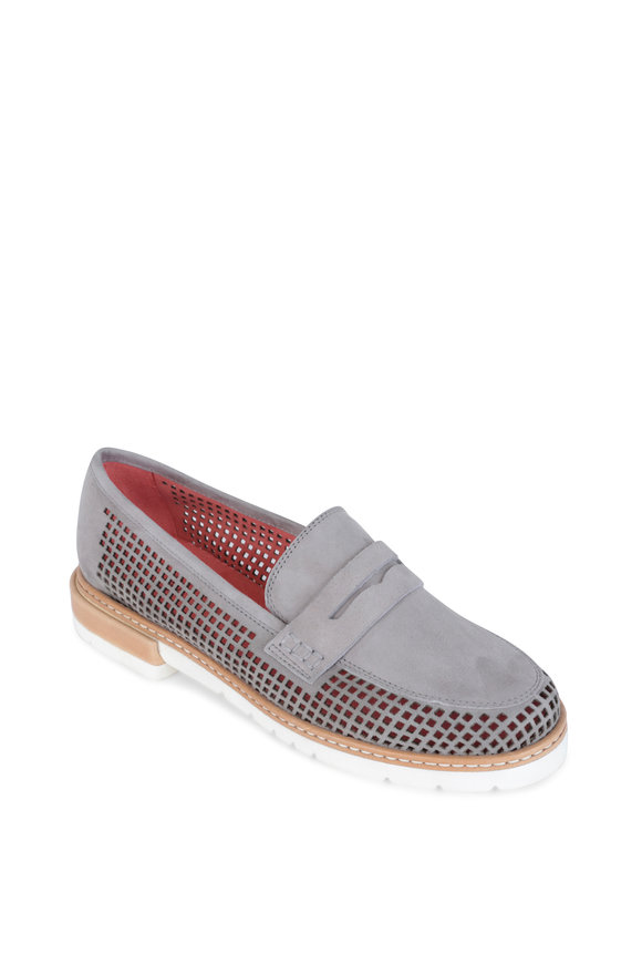 Pas de Rouge Marta Gray Perforated Suede Penny Loafer