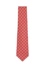 Kiton - Red & White Oval Silk Necktie