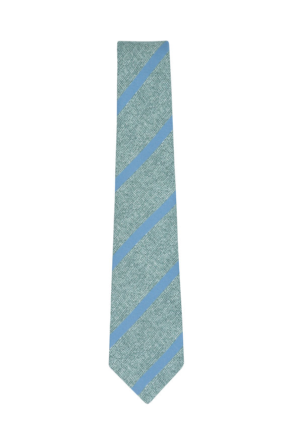 Kiton Green & Blue Striped Silk Necktie