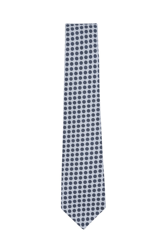 Kiton Cream & Navy Blue Circle Silk Blend Necktie