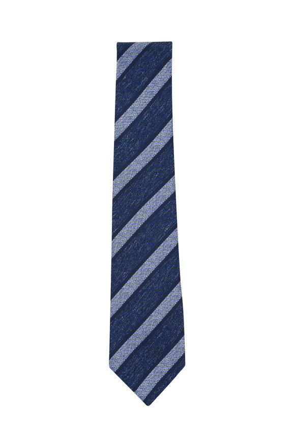 Kiton Blue & White Striped Silk, Wool & Linen Necktie