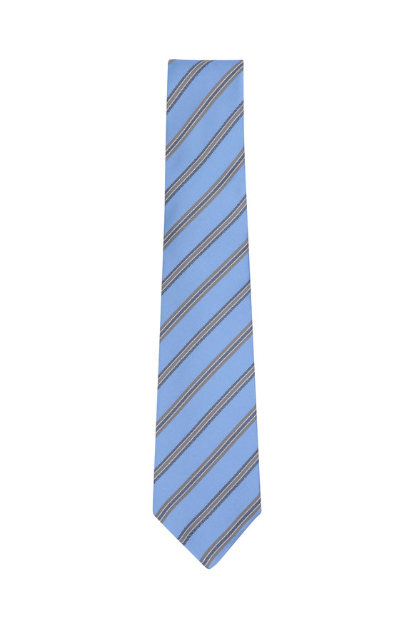Kiton Light Blue & Brown Striped Silk Necktie