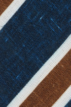 Kiton - Blue, Brown & White Striped Linen Necktie