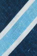 Kiton - Blue & White Striped Linen Necktie