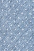 Kiton - Blue & White Dot Print Silk & Linen Necktie