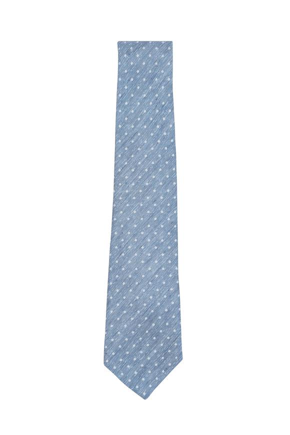Kiton Blue & White Dot Print Silk & Linen Necktie