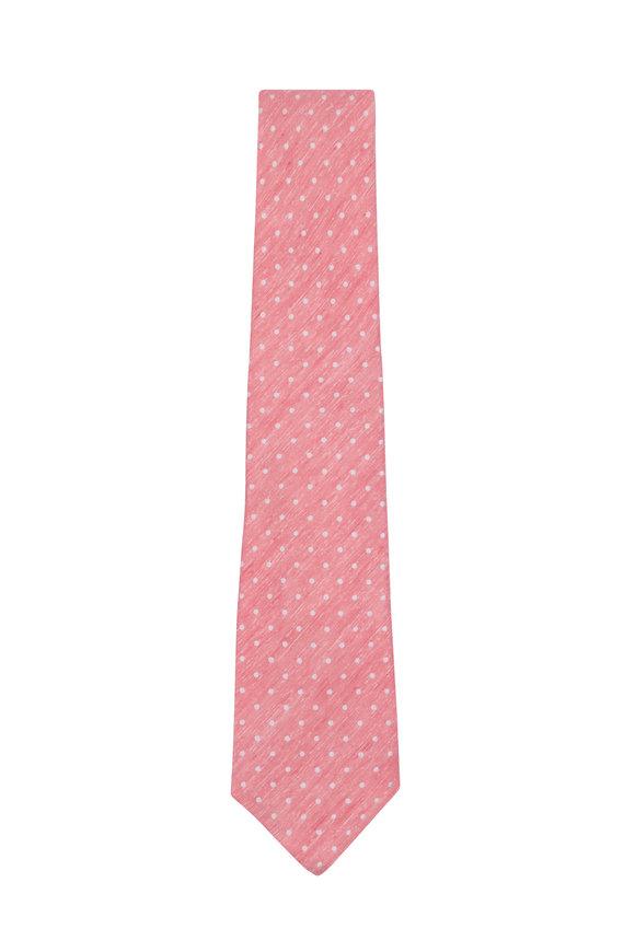 Kiton Salmon & White Dot Silk & Linen Necktie