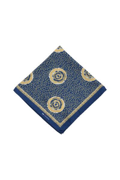 Kiton - Navy Blue & Yellow Floral Silk Pocket Square
