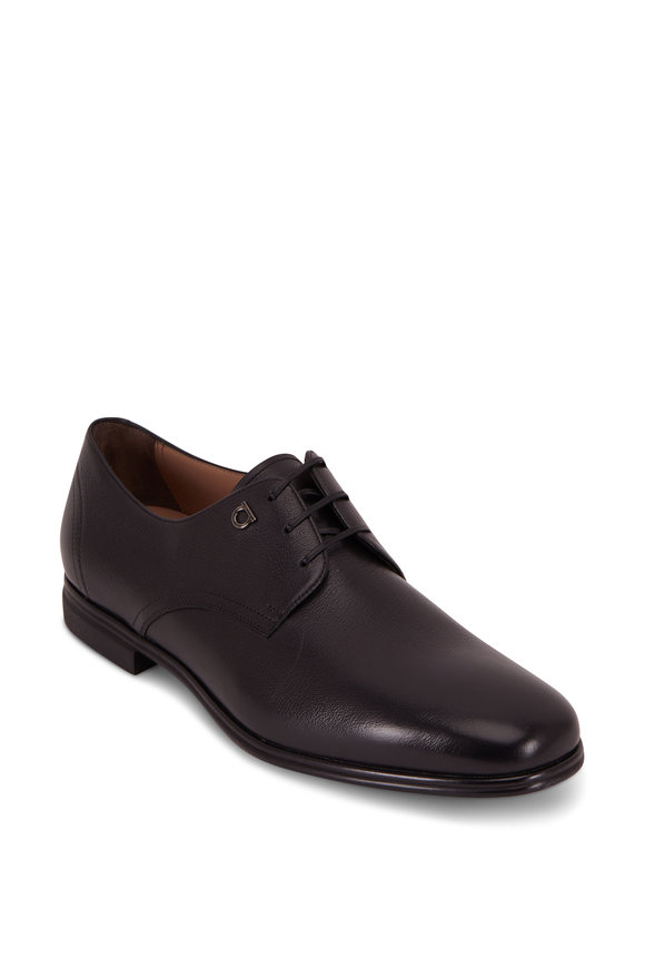 Salvatore Ferragamo Spencer Black Pebble Leather Derby Shoe