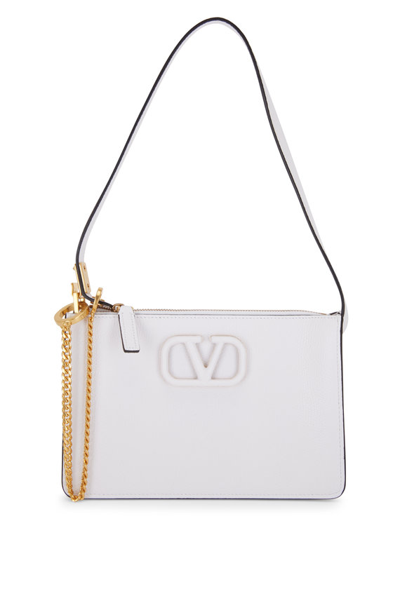 Valentino Garavani V-Sling White Grained Leather Small Pouch Bag