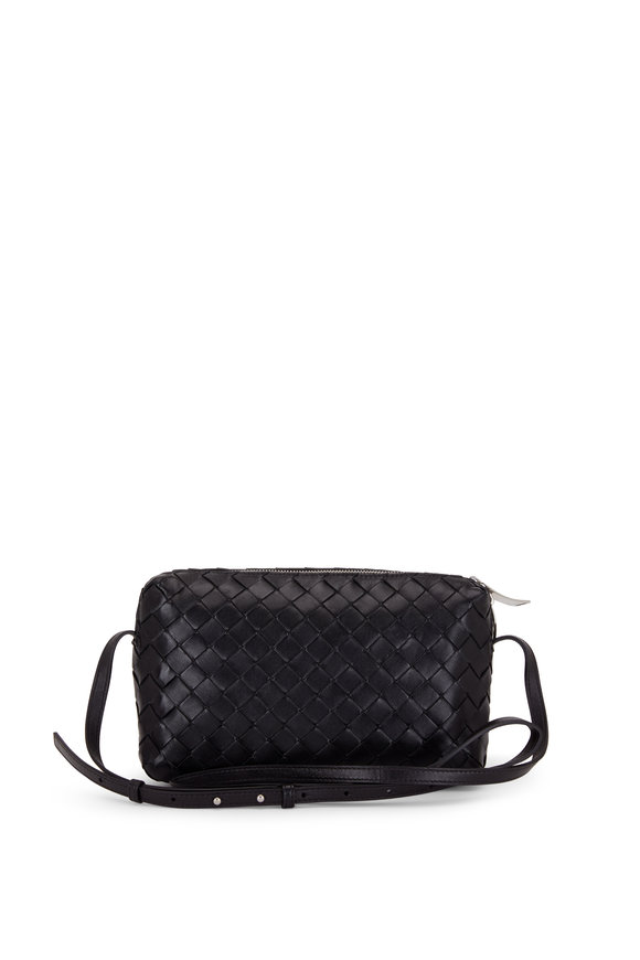 Bottega Veneta Black Intercciato Leather Two-Way Zip Crossbody
