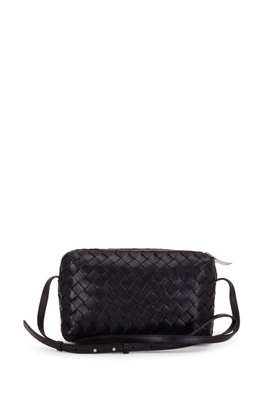 Bottega Veneta - Black Intercciato Leather Two-Way Zip Crossbody