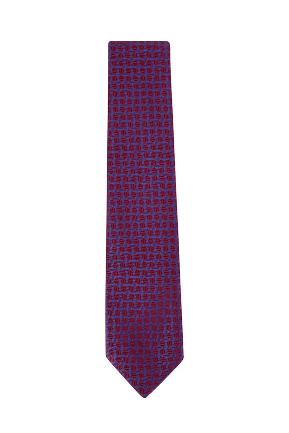 Charvet Burgundy Circle Silk Necktie
