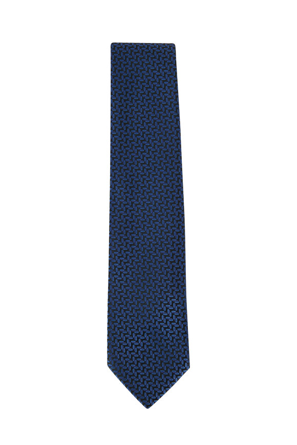 Charvet Navy Blue & Green Herringbone Silk Necktie