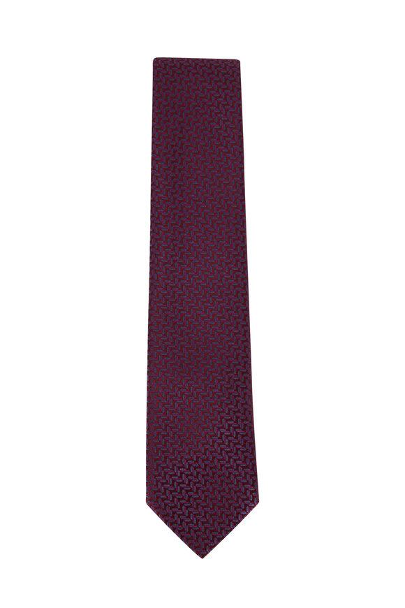 Charvet Eggplant Herringbone Silk Necktie