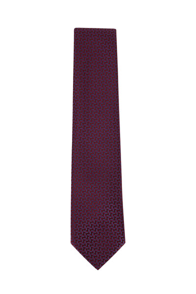 Charvet - Eggplant Herringbone Silk Necktie