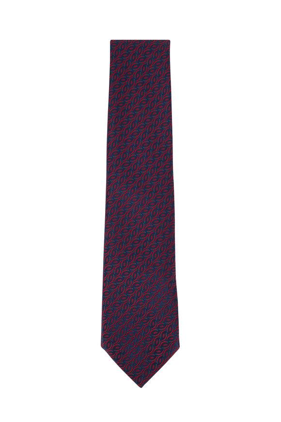 Charvet Navy Blue Geometric Silk Necktie