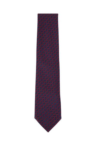 Charvet - Navy Blue Geometric Silk Necktie