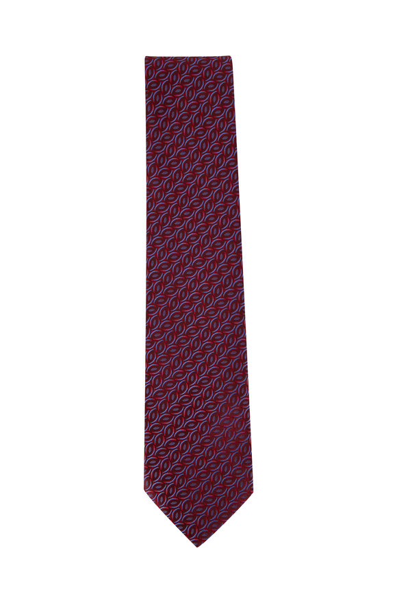Charvet Burgundy Geometric Silk Necktie