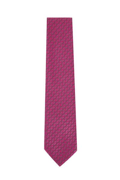 Charvet - Pink Geometric Silk Necktie