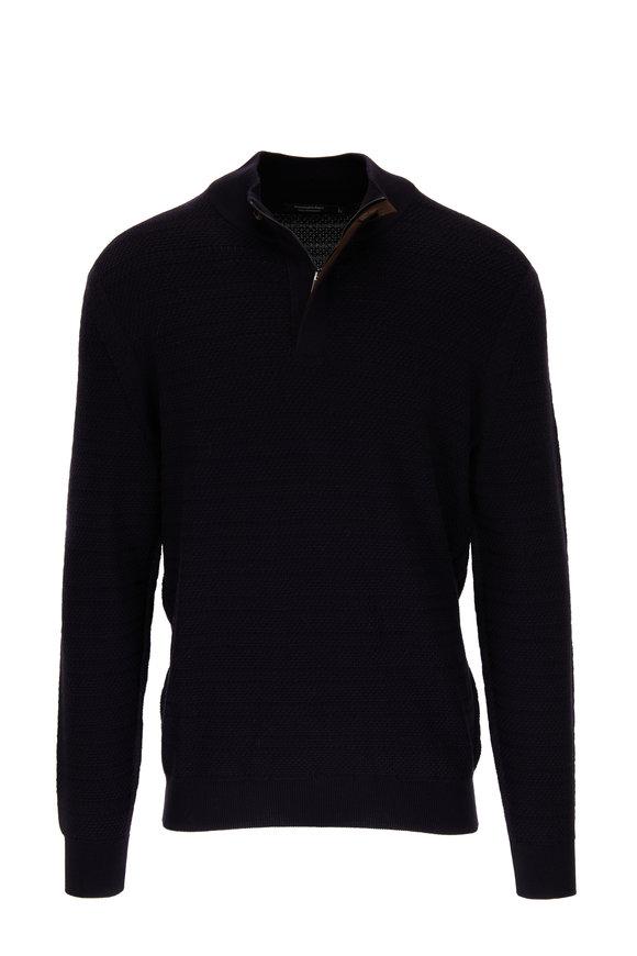 Ermenegildo Zegna Navy Wool Quarter-Zip Pullover