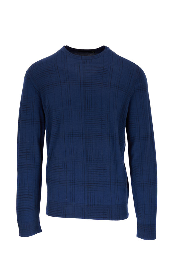 Ermenegildo Zegna Blue Cashmere & Silk Tonal Plaid Sweater
