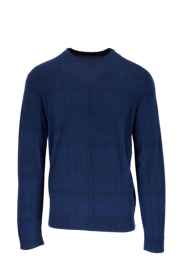 Ermenegildo Zegna Blue Cashmere & Silk Tonal Plaid Sweater