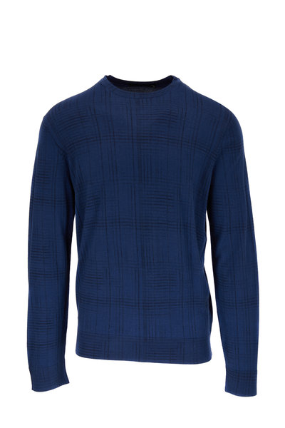 Ermenegildo Zegna - Blue Cashmere & Silk Tonal Plaid Sweater