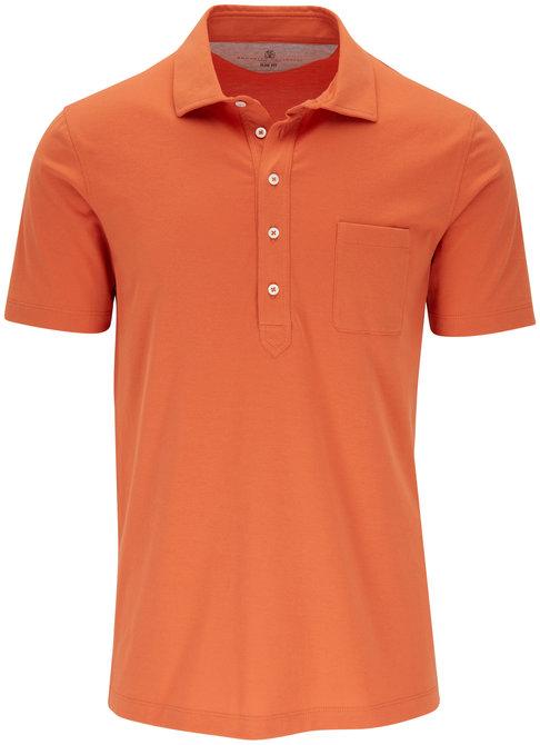 Brunello Cucinelli Orange Cotton Slim Fit Polo