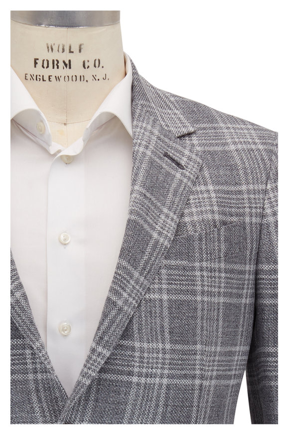Ermenegildo Zegna Charcoal, Gray & White Plaid Sportcoat