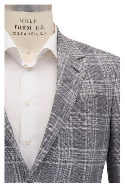 Ermenegildo Zegna - Charcoal, Gray & White Plaid Sportcoat