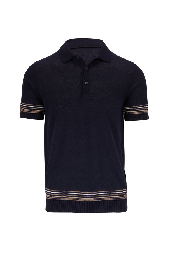 Fradi Navy Linen & Cotton Striped Trim Polo