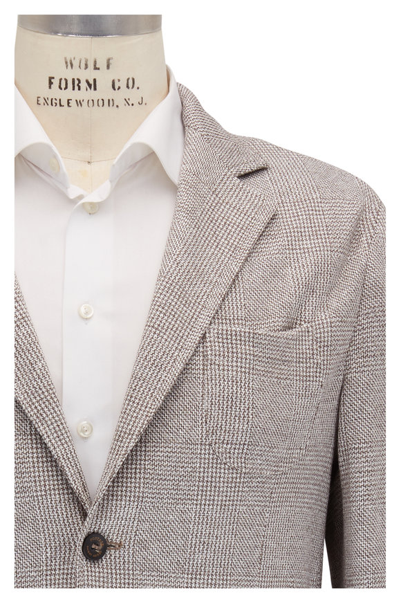 Fradi Gray Mini Houndstooth Linen & Cotton Sportcoat