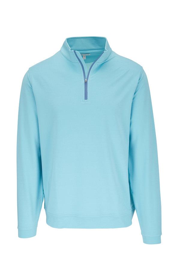 Peter Millar Tropic Blue Melange Quarter-Zip Pullover