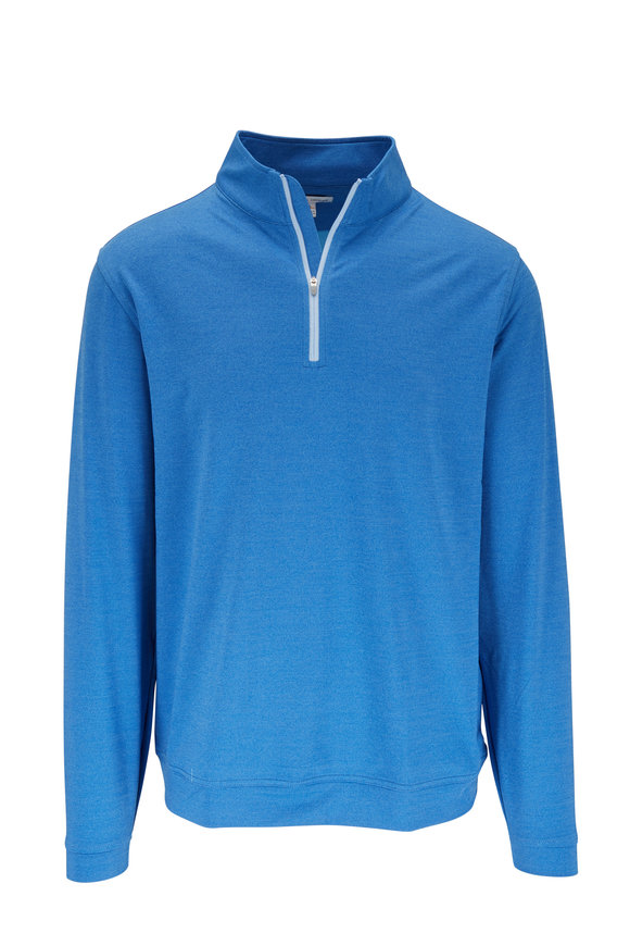 Peter Millar Lapis Blue Melange Quarter-Zip Pullover