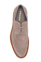 Trask - Rogan Light Gray Suede Wingtip Buck Shoe