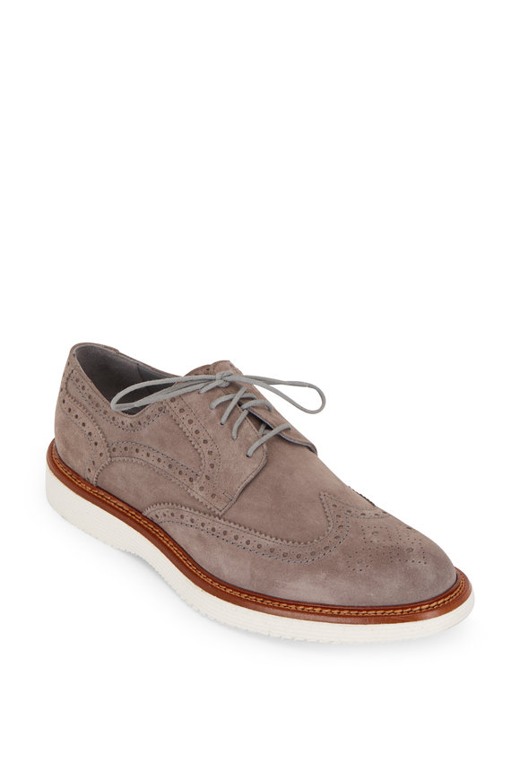 Trask Rogan Light Gray Suede Wingtip Buck Shoe