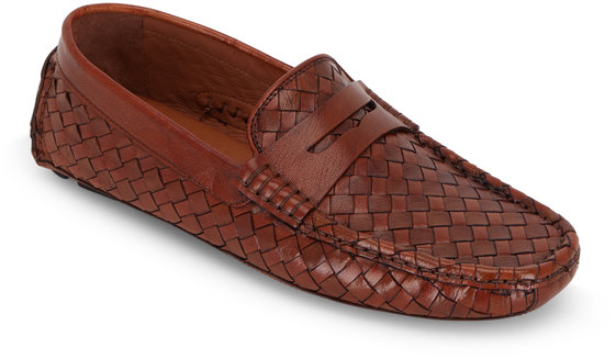 Trask Rowan Tan Woven Leather Penny Driver